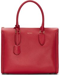 Alexander McQueen Red Leather Woven Grain Heroine Tote Bag - Lyst