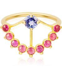 AIMEE AIMER Pink Sapphire Beijaflor Ring - Blue