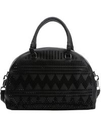 Christian Louboutin Black Leather Chevron Spiked 'Panettone' Large Convertible Satchel - Lyst