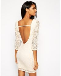 Asos Low Back Mini Lace Bodyconscious Dress - Lyst