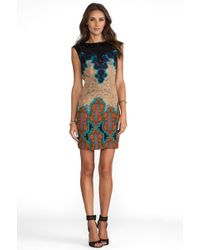 Tracy Reese Medallion Sarasatic Print Placement Shift Dress in Blue - Multicolor