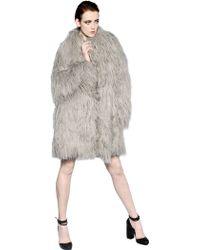Lanvin Faux Fur Coat - Lyst