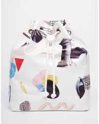 Monki - Printed Drawstring Duffle Backpack - Lyst