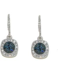 1928 Silver Montana Crystal Round Earrings - Blue