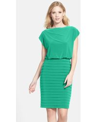 Adrianna Papell Pleated Jersey Blouson Dress - Lyst