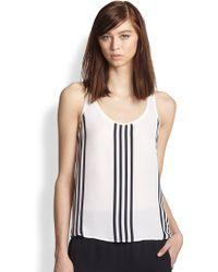 Theory Isaac Silk Striped Tank - White
