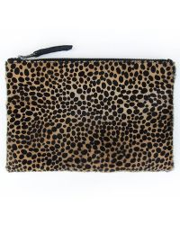 Velvet By Graham & Spencer Oliva Cheetah Zip Clutch - Lyst