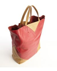 Celine Red and Camel Colorblock Leather Tote Bag - Lyst