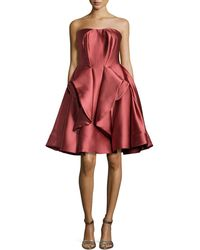 Zac Posen Strapless Peplum Full-Skirt Dress - Lyst
