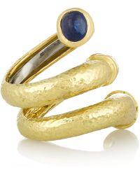 David Webb   Double Tip Nail 18-Karat Gold, Sapphire And Diamond Ring   Lyst