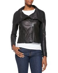Elie Tahari Melanie Leather Jacket W Quilted Shoulders - Lyst