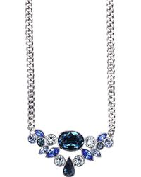 Givenchy Silver Tone and Multi Blue Crystal Frontal Necklace - Lyst