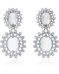 Paul Morelli - Oval Cabochon Mixed Diamond Cluster Double Dangle Earrings - Lyst