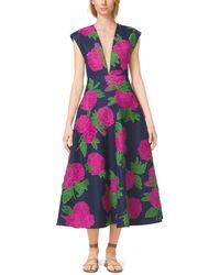 Michael Kors Peony-Embroidered Silk-Wool Mikado Plunge Dress - Lyst