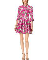 Michael Kors Peony-Print Cotton-Poplin Shirtdress - Lyst