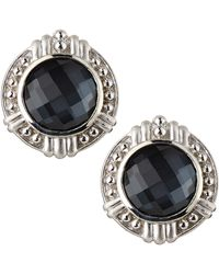 Judith Ripka - Vintage Hematite Doublet Button Earrings - Lyst