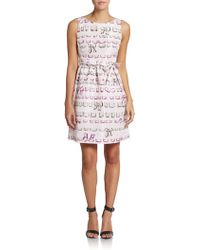 RED Valentino Printed Belted Fit-And-Flare Dress - Lyst