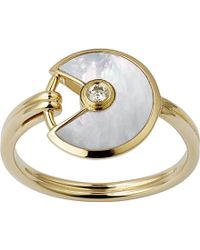 Cartier Amulette De 18Ct Yellow-Gold, Mother-Of-Pearl And Diamond Ring - Lyst
