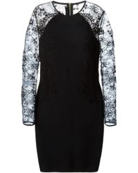 Elie Saab Lace Detail Fitted Dress black - Lyst