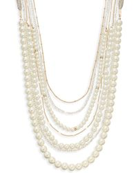 Sequin | Faux Pearl & Chain Strand Necklace | Lyst
