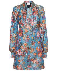 Saint Laurent Floral Brocade Dress - Lyst