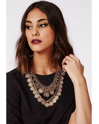 Missguided Darsha Coin Detail Layered Necklace Gold - Lyst