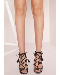 Missguided Lace Up Heeled Sandals Snake Print - Grey