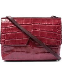 Vince Red Baby Croc-embossed Leather Bag