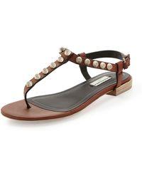 Balenciaga Arena Leather Thong Sandal - Lyst