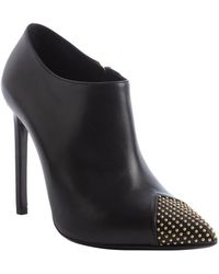 Saint Laurent Black Leather Beaded Cap Toe Ankle Booties - Lyst