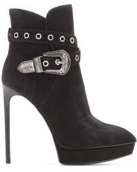 Saint Laurent Janis Suede Ankle Boots - Lyst