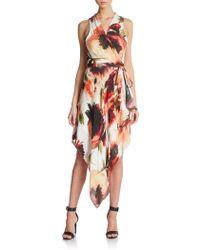 Haute Hippie Floral-Print Silk Wrap Dress - Lyst