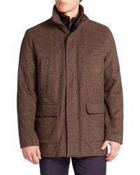 Calvin Klein Brown Stretch-wool Coat - Lyst