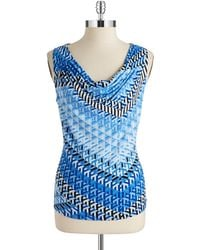 Calvin Klein Patterned Cowlneck Shell - Lyst