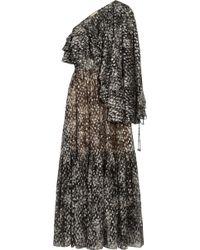 Michael Kors Leather-paneled Wool-blend Lace Dress - Grey