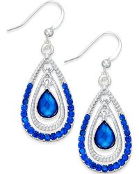 Style & Co. - Silver-tone Blue Triple Teardrop Earrings - Lyst