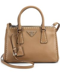 Prada City Calf Small Topstitched Double-Zip Tote - Lyst