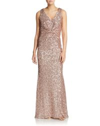 Badgley Mischka Sequined V-Neck Gown - Lyst