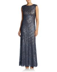 Vera Wang Sequined Circle-Back Trumpet Gown blue - Lyst