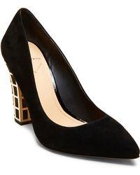 B Brian Atwood Otavia Embellished Suede Block Heel Court Shoes - Black