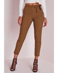 Missguided Tie Belt Crepe High Waist Pants Brown