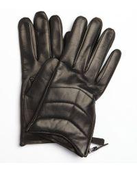 Portolano Black Leather Zipper Detail Nappa Gloves - Lyst