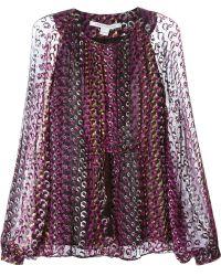 Diane Von Furstenberg Chain Print Sheer Blouse - Lyst