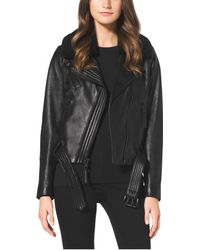 Michael Kors Fur-Collar Leather Jacket - Lyst