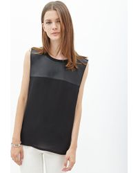 Forever 21 Faux Leather Paneled Top - Lyst