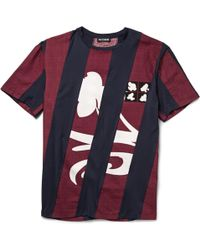 Raf Simons Printed Dobby Cotton And Jersey T-Shirt red - Lyst