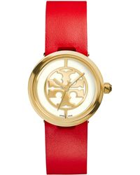 Tory Burch Reva Goldtone Stainless Steel & Leather Strap Watch/Red - Lyst