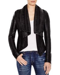 Blank Faux Leather Jacket With Twist Front - Black