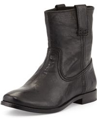Frye Anna Leather Short Boot Black 55b - Lyst
