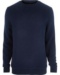 River Island Navy Quilted Sweatshirt - Lyst